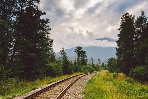 rails, railroad, mountains, Slovakia,, rails stretching to the horizon