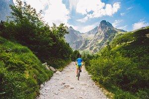 a cyclist riding in the high Tatras, Slovakia