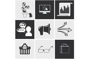 Icons for seo, social media online