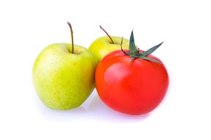two green Apple and one red tomato