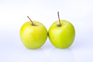 delicious juicy fresh green Apple on white background