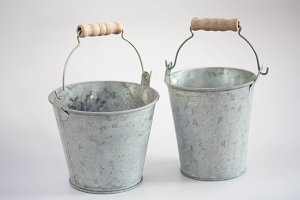 Two tin bucket with handles