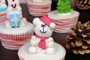 Sugar Christmas bear figurine