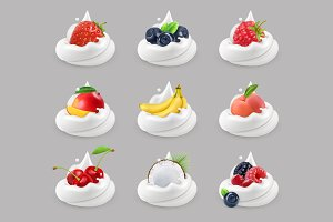 Whipped cream with fruits, vector