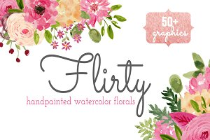 Watercolor Flower Clip Art - Flirty