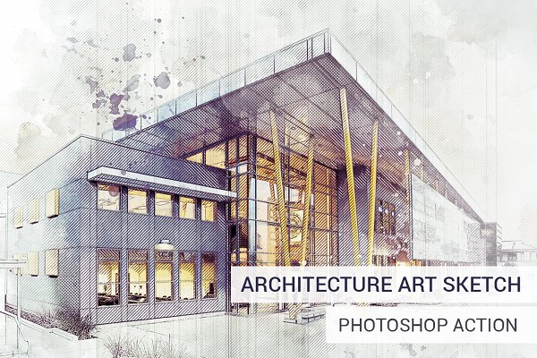 Architecture Sketch Photoshop Actio…