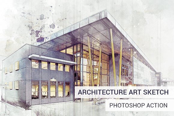 Architecture Sketch Photoshop Action Actions Creative