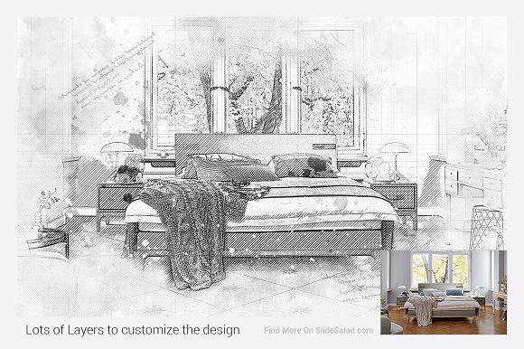 Architecture sketch photoshop action actions creative market fandeluxe Image collections