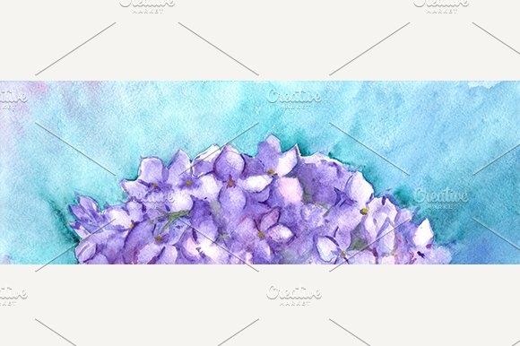 Watercolor Lilac Floral Composition