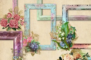 Rustic Floral Frames Clipart