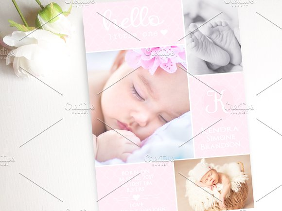 Baby Pink Birth Announcement Card