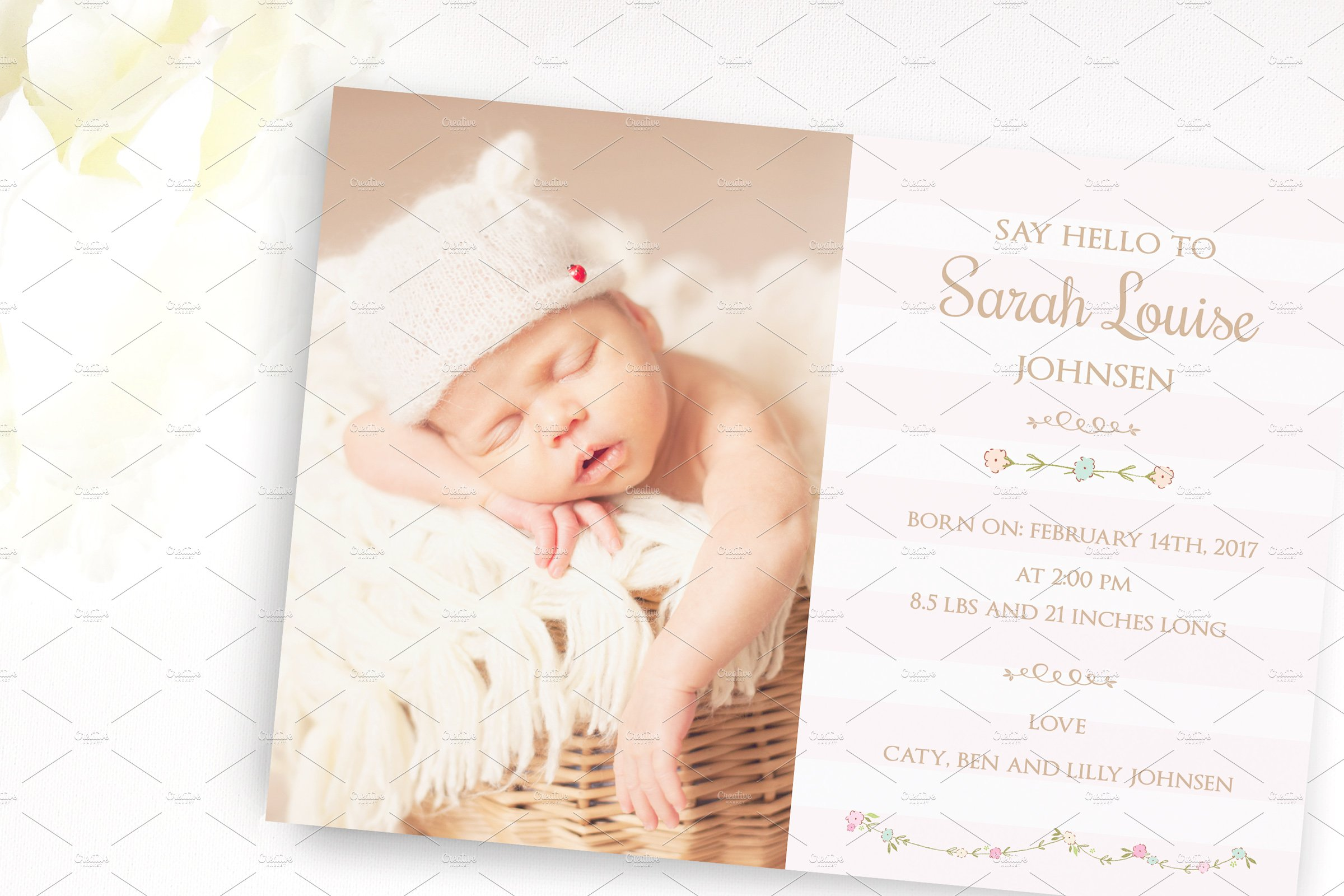 Flower Baby Birth Announcement Card Card Templates Creative Market