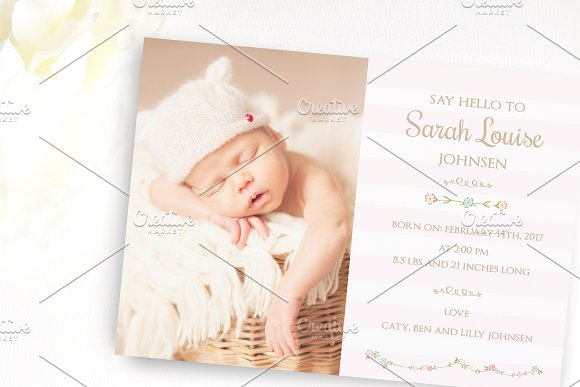 Flower Baby birth announcement card Card Templates Creative Market – Baby Birth Invitation Card