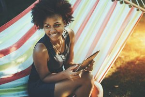 Afro girl on hammock