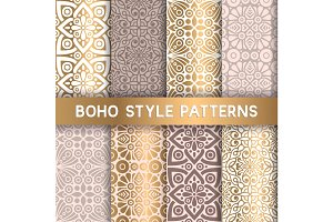8 Ethnic floral seamless patterns
