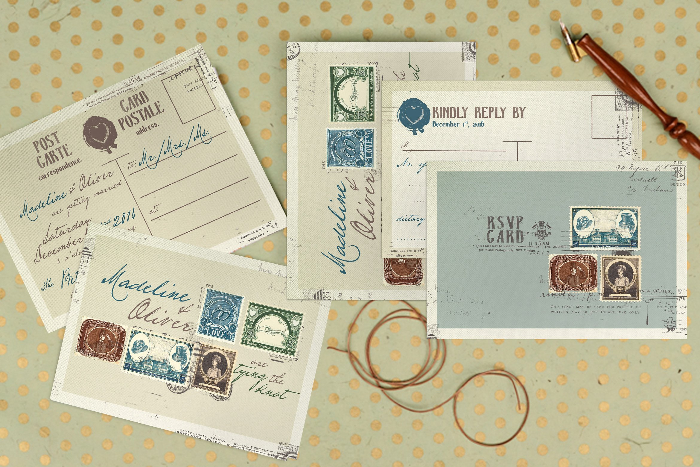 Vintage Stamp Wedding Suite Invitation Templates Creative Market