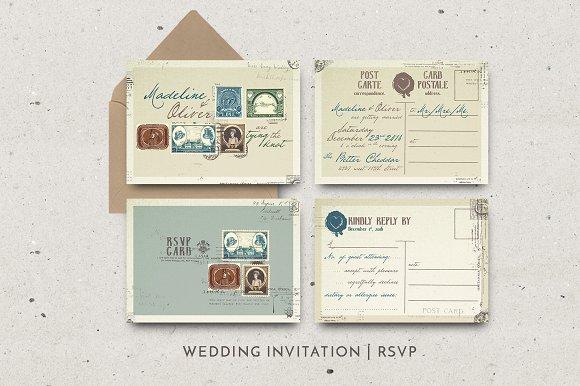 Vintage Stamp Wedding Suite Wedding Templates Creative Market