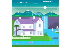 Modern prefabricated family house,vector illustration