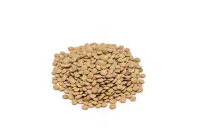 Heap of organic green lentils isolated on white background