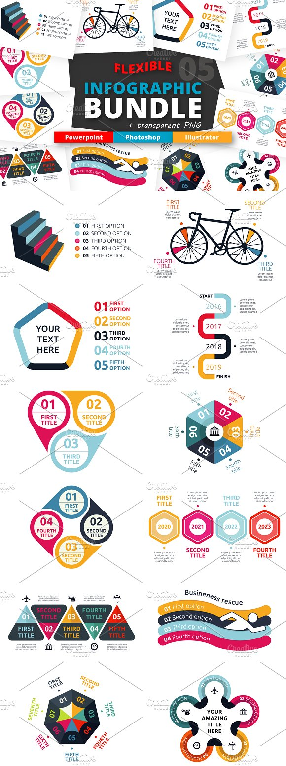 Flexible Infographic Bundle Vol5 Presentation Templates File Type Photoshop Psd Image Size 3400 X 2800 Resolution