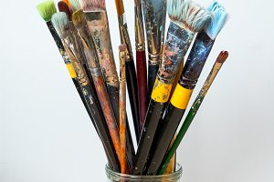 Artistic brushes in jar