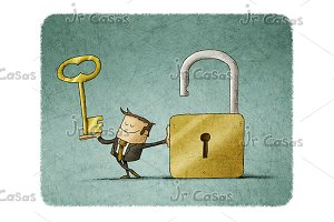 Businessman with a key and padlock