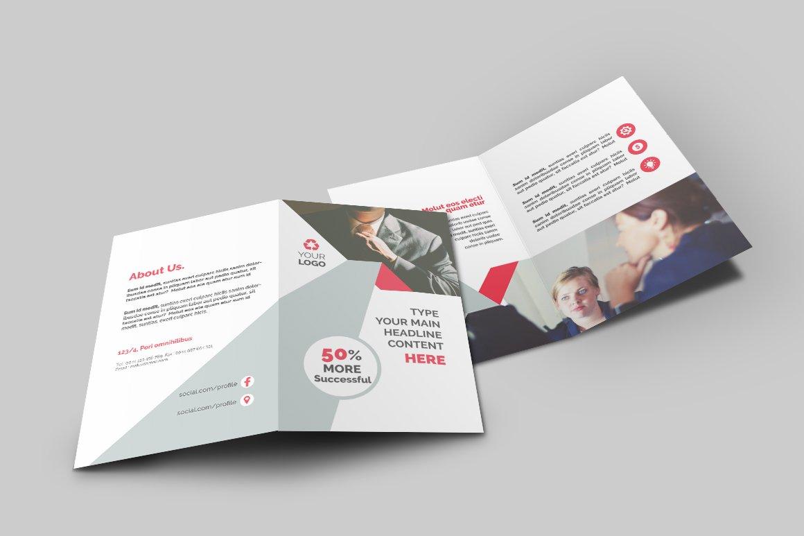 Business bi fold brochure brochure templates creative market for Two fold brochure