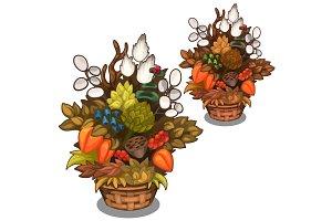 Beautiful basket with flower arrangement. Vector