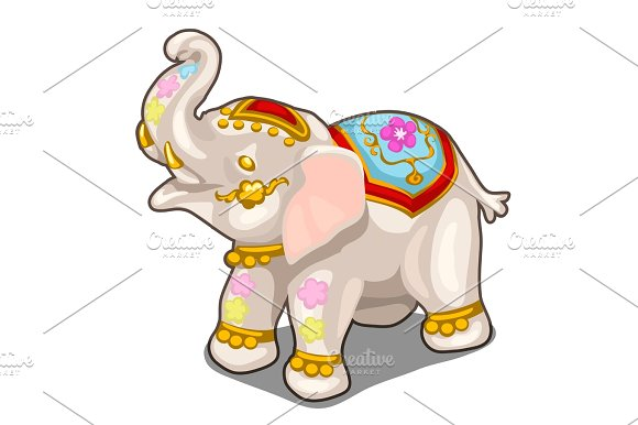 Figurine Of Indian White Elephant Vector Isolated