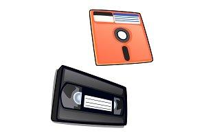 Vintage cassette and diskette