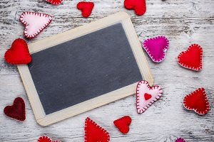 Chalkboard with felt hearts