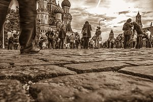 tourist's leg on a stone blocks