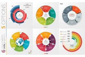Collection of 6 vector circle chart templates for infographics w