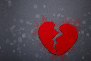 Felt red broken heart
