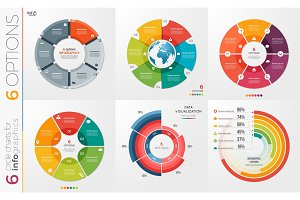 Collection of 6 vector circle chart templates 6 options.