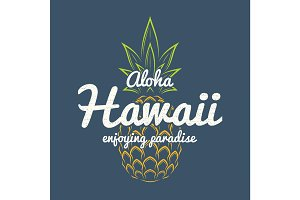 Hawaii enjoying paradise tee print with pineapple.