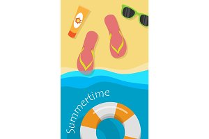 Summertime Vector Concept in Flat Style Design