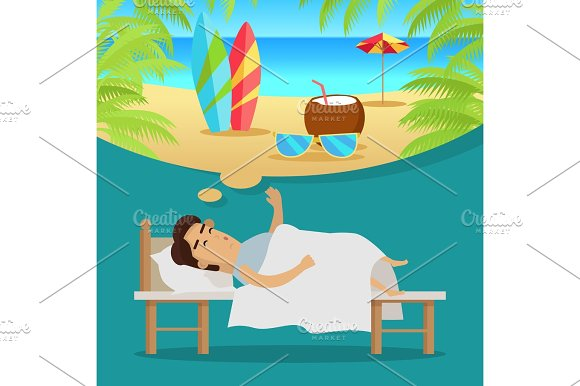 Man Sleeping And Dreaming Vacation On Beach