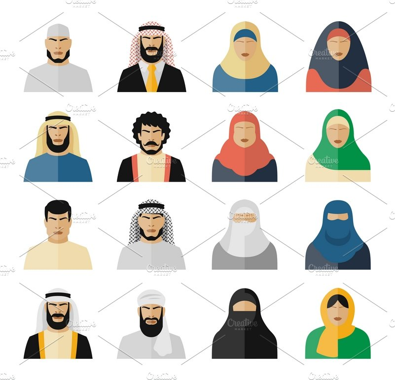 Arab people icons ~ Icons ~ Creative Market