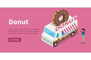 Donut conceptual Isometric Vector Web Banner