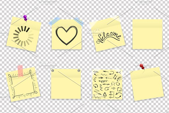 Vector Yellow Office Paper Stickers