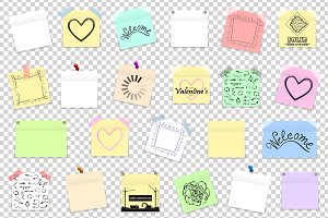 Vector colored office paper stickers