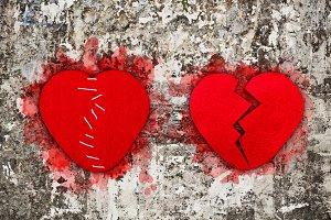 Pair of red broken hearts