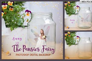 Pansies Fairy Backdrop