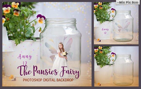 Pansies Fairy Backdrop