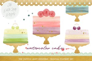 Watercolor Cake Clipart Set