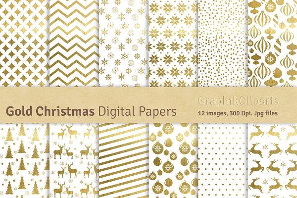 Gold Christmas Digital Papers
