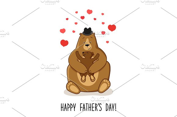Cute Father's Day card with Dad Bear and his baby