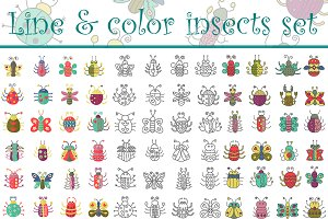 Color, flat line & stroke insects