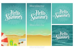 Hello summer hand drawn lettering with rays on beach background.